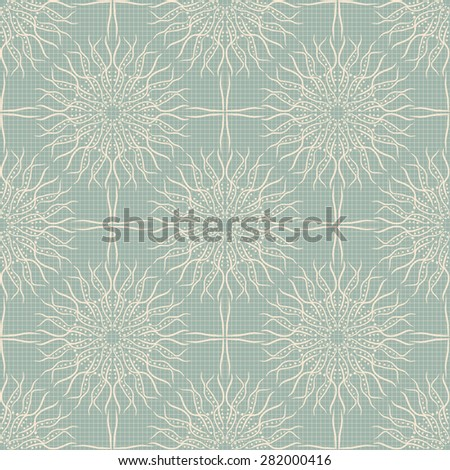 Light green lace seamless pattern, hand drawn fuzzy flowers on grid, vintage print