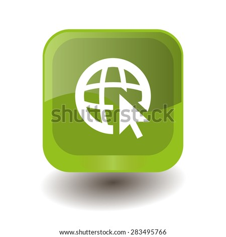 Light green square button with white globe (go to web) sign, vector design for website - stock vector