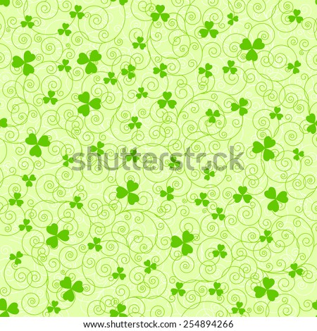 Light green St. Patrick's day background with swirls and clover leaves. - stock vector
