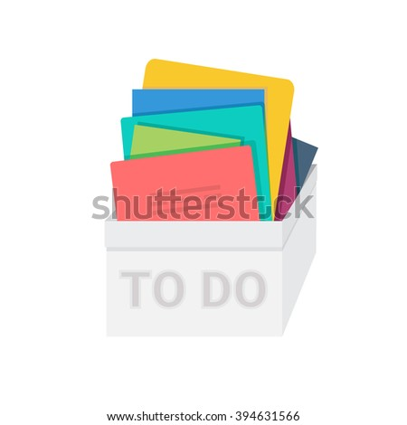 "Light grey ""to do"" box with stack of folders and papers inside of it. Vector illustration for your graphic design."