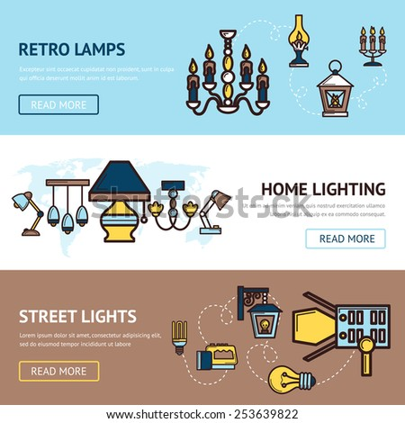 Light horizontal banners set with retro street and home lamps elements isolated vector illustration - stock vector