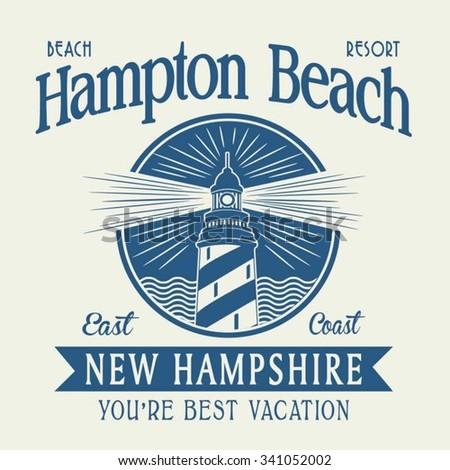 light house typography, t-shirt graphics, vectors - stock vector