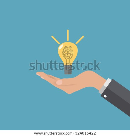Light idea bulb with brain helix at Business man hand at blue backgound in flat design. Idea for web design, promotion banners, infographic templates. vector illustration - stock vector