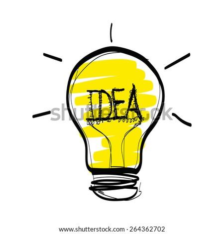 Light Idea Hand Drawn Vector On White Background