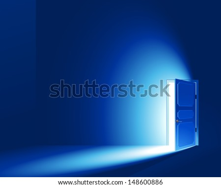 Light in a room through the open door. EPS8. CMYK-version. No Meshes (Light and shadows were created only by a gradient) - stock vector