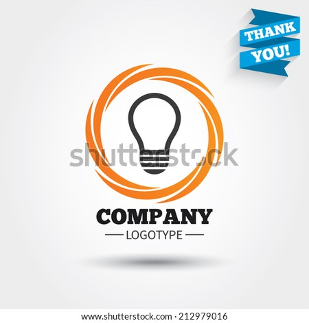 Light lamp sign icon. Idea symbol. Business abstract circle logo. Logotype with Thank you ribbon. Vector