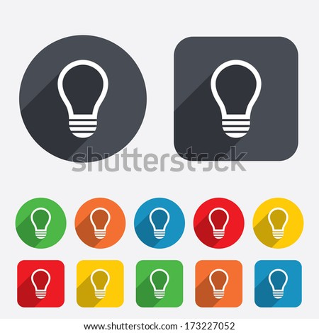 Light lamp sign icon. Idea symbol. Circles and rounded squares 12 buttons. Vector - stock vector