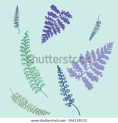 light leafs pattern on blue background - stock vector