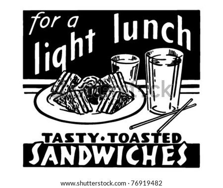 Light Lunch - Retro Ad Art Banner - stock vector