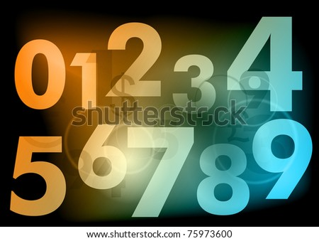 light numbers on the dark background - stock vector