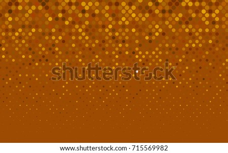 Light Orange vector modern geometrical circle abstract background. Dotted texture template. Geometric pattern in halftone style with gradient.