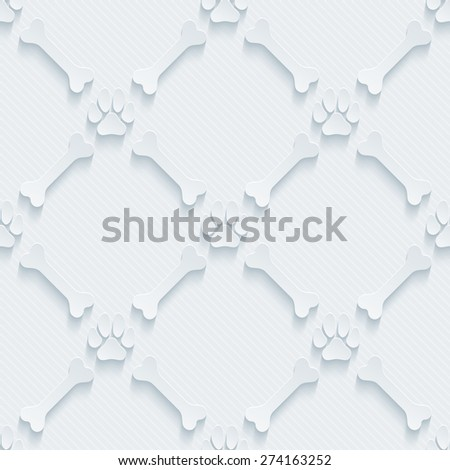 Light perforated paper with cut out effect. Paws print and bones 3d seamless background. Vector EPS10. - stock vector