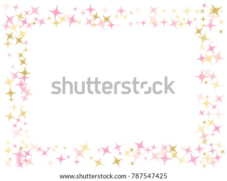 Light Pink Gold Flying Stars Confetti Frame Vector Premium Sparkles Stardust Background Pattern Holiday