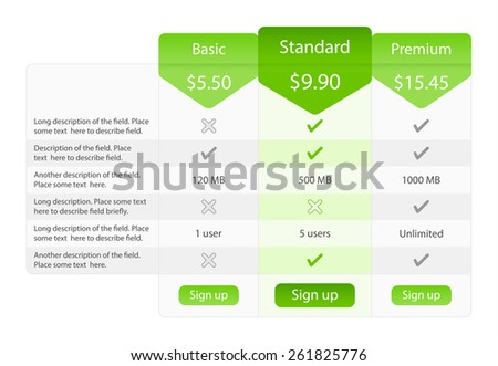 Light pricing table with 3 options and one recommended - stock vector