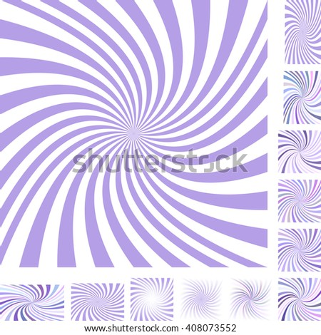 Light purple and white vector spiral design background set. Different color, gradient, screen, paper size versions. - stock vector