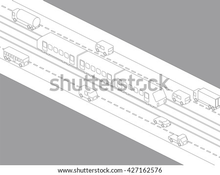 light rail transit system and various vehicles, streetcar, birds-eye view, line drawing illustration - stock vector