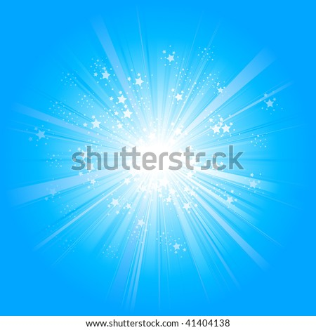Light rays with stars - stock vector