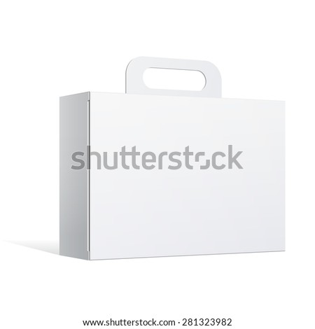 Light Realistic Package Cardboard Box with a handle. Vector illustration - stock vector