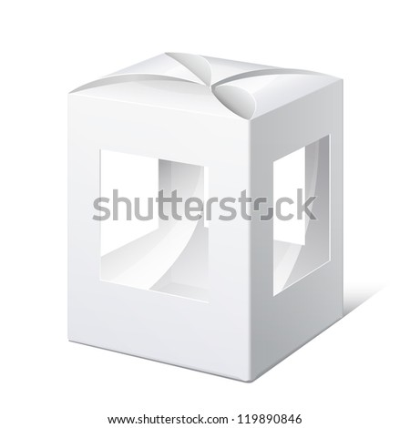 Light Realistic Package Cardboard Box with a transparent Windows. Christmas Toy. Vector illustration - stock vector