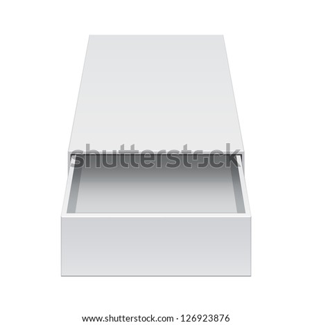 Light Realistic Package Cardboard Sliding Box Opened. For small items, matches, and other things. Vector Illustration