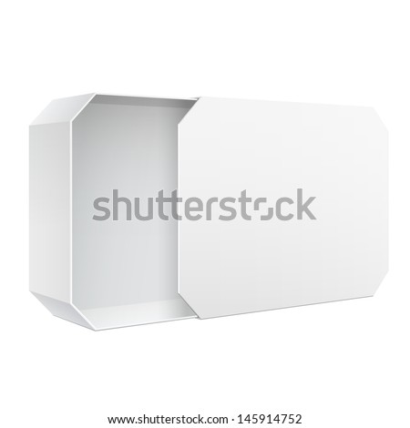 Light Realistic Package Cardboard Sliding Box Opened. For Software, electronic device. Vector Illustration - stock vector