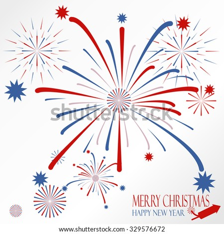 Light red blue firework on christmas holiday - stock vector