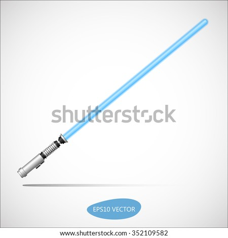 Light Saber, Energy Sword - Futuristic Energy Weapon. Isolated Vector Illustration - stock vector