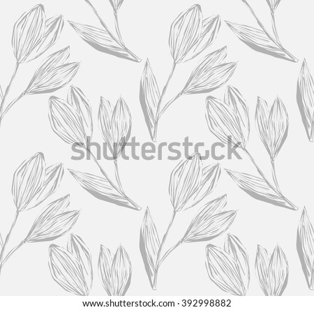Light seamless pattern of freehand drawing and hatched snowdrops in grayscale. Vector Eps10.  - stock vector