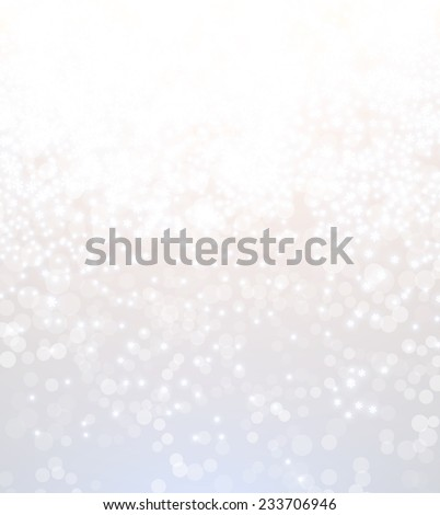 Light Silver Abstract Christmas Background with White Blurred Snowflakes  - stock vector