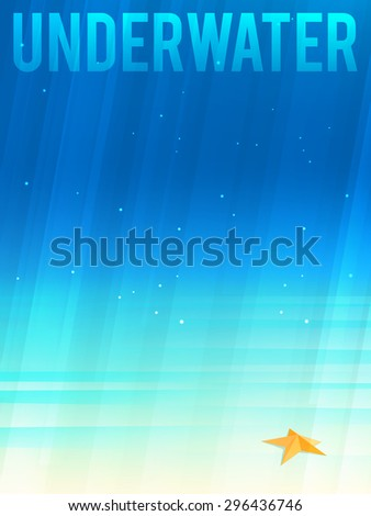 Light simplified underwater background with starfish. Vector illustration, eps10. - stock vector
