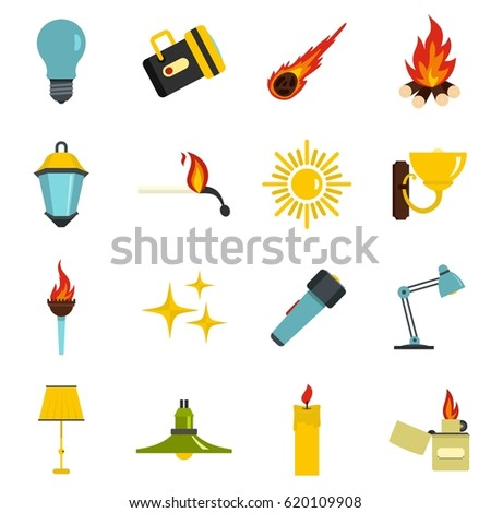 Light Source Symbols Icons Set Flat Stock Vector 620109908