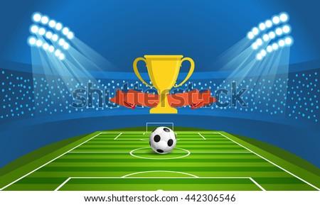 Light stadium mast vector illustration. Stadium with green football field - stock vector