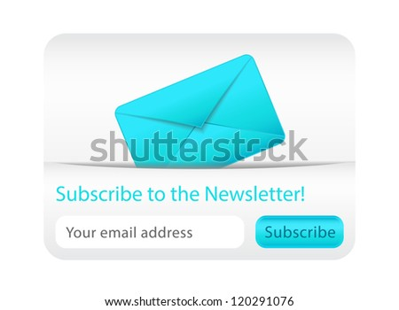 Light subscribe to newsletter website element with blue envelope - stock vector
