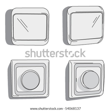 light switch & dimmer - stock vector