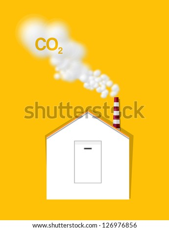 Light Switch House Produce Carbondioxide Gas from Chimney Vector - stock vector