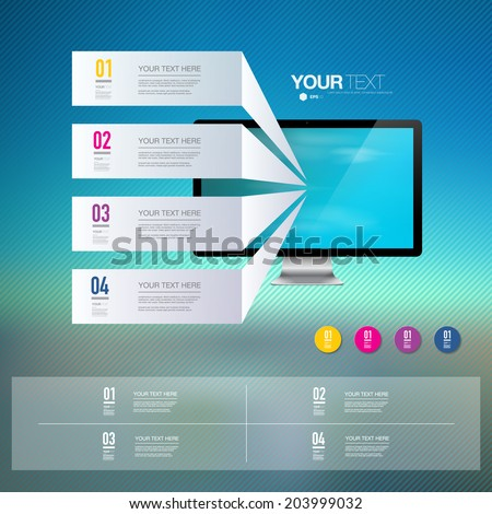 Light text boxes with realistic 3d computer monitor with striped blue sky wallpaper  can be used for workflow layout, diagram, chart, number options, web design.  Eps 10 stock vector illustration  - stock vector
