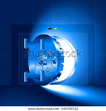 Light through a half-open door of the bank safe (bank vault). The blue version. EPS-8, without Meshes. - stock vector