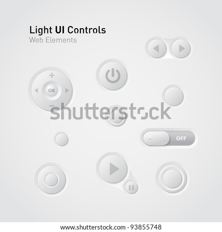 Light UI Controls Web Elements: Buttons, Switchers,