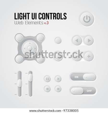 Light UI Controls Web Elements 3: Buttons, Switchers, On, Off, Player, Audio, Video: Play, Stop, Next, Pause, Volume, Equalizer - stock vector