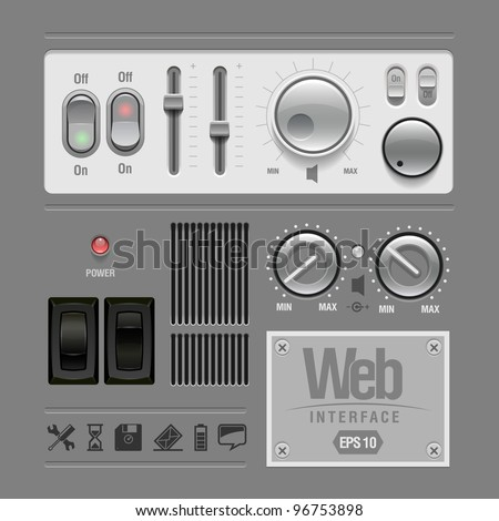 Light UI Controls Web Elements: Buttons, Switchers, Regulators, - stock vector