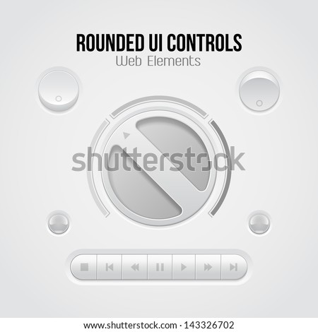 Light UI Controls Web Elements: Knob, Buttons, Switchers, On, Off, Player, Audio, Video: Play, Stop, Next, Pause, Volume, Equalizer, Bulb, Amplifier. - stock vector