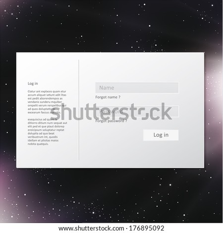 Light vector log in form on deep space background.   - stock vector