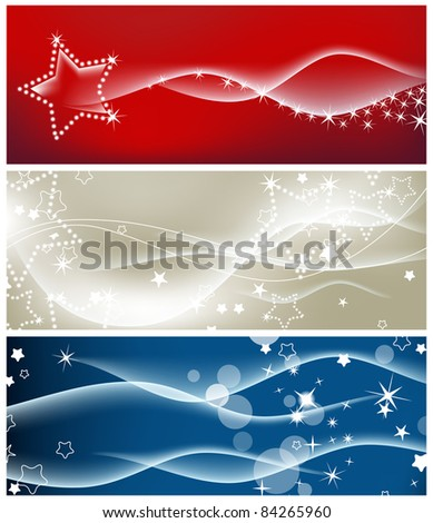 Light waves and sparkling stars vector backgrounds - stock vector