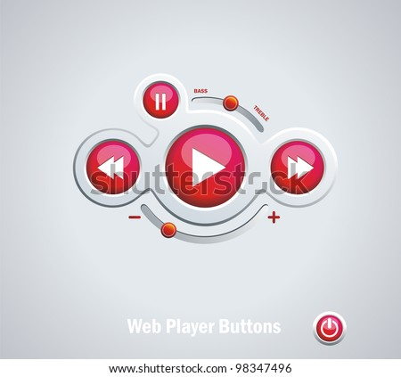 Light  Web Elements: Buttons, Switchers, Player, Audio - stock vector