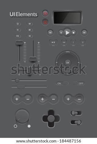 Light Web UI Elements Design Black. Elements: Buttons, Switchers, Slider, mix, equalizer - stock vector