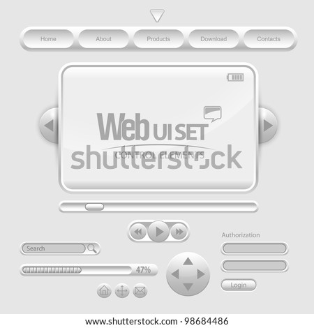Light Web UI Elements Design Gray. Elements: Buttons, Switchers, Slider - stock vector