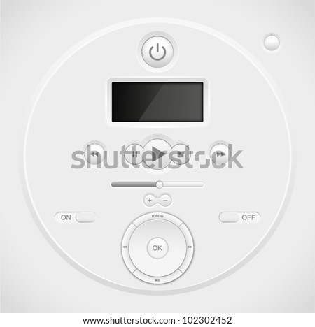 Light Web UI Elements Design Gray. Elements: Buttons, Switchers, Slider, mixer, equalizer - stock vector