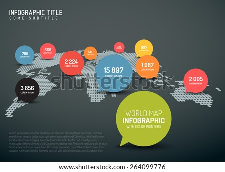 Light World map with simple pointer marks (speech bubbles) -  minimalist infographics concept - dark version - stock vector