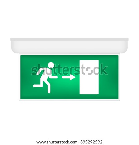 Lightbox with emergency exit sign indicating the direction of exit in case of danger. Isolated on white background. - stock vector