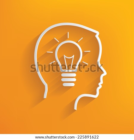 Lightbulb concept on yellow background,clean vector - stock vector